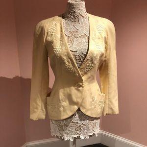Vintage linen 🍇 grape embroidered jacket